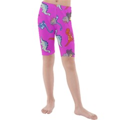 Dinosaurs   Fuchsia Kids  Mid Length Swim Shorts