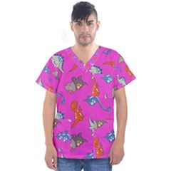 Dinosaurs   Fuchsia Men s V Neck Scrub Top