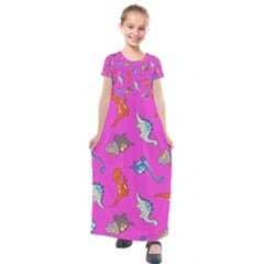 Dinosaurs   Fuchsia Kids  Short Sleeve Maxi Dress by WensdaiAddamns