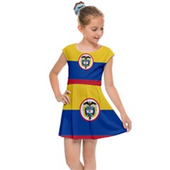 Coat Of Arms Of The Colombian Navy Kids  Cap Sleeve Dress