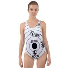 Earth Geocentric Jupiter Mars Cut-out Back One Piece Swimsuit by Wegoenart