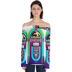 Jukebox Music Music Player Off Shoulder Long Sleeve Top