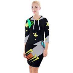 Planet Rocket Space Stars Quarter Sleeve Hood Bodycon Dress by Wegoenart