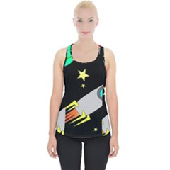 Planet Rocket Space Stars Piece Up Tank Top