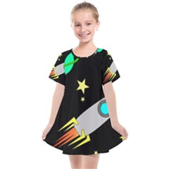 Planet Rocket Space Stars Kids  Smock Dress