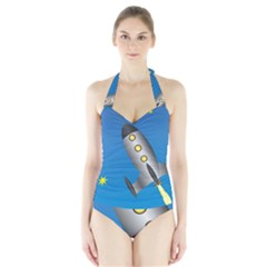 Rocket Spaceship Space Travel Nasa Halter Swimsuit