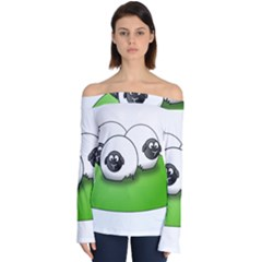 Sheep Agriculture Hill Group Flock Off Shoulder Long Sleeve Top
