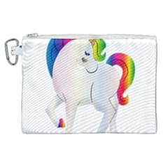 Rainbow Unicorn Unicorn Heart Canvas Cosmetic Bag (xl)