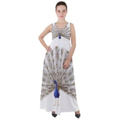 Peacock Colorful Bird Feather Blue Empire Waist Velour Maxi Dress by Wegoenart