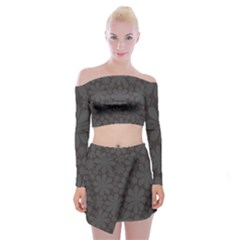 Zappwaits Blumen Off Shoulder Top With Mini Skirt Set