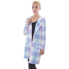 Gingham Duo Aqua On Lavender Hooded Pocket Cardigan