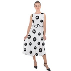Totoro   Soot Sprites Pattern Midi Tie Back Chiffon Dress by Valentinaart