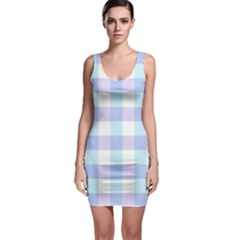 Gingham Duo Aqua On Lavender Bodycon Dress