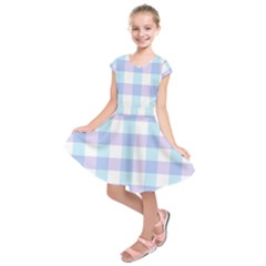 Gingham Duo Aqua On Lavender Kids  Short Sleeve Dress by retrotoomoderndesigns
