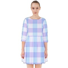 Gingham Duo Aqua On Lavender Smock Dress by retrotoomoderndesigns