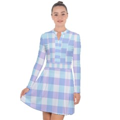 Gingham Duo Aqua On Lavender Long Sleeve Panel Dress