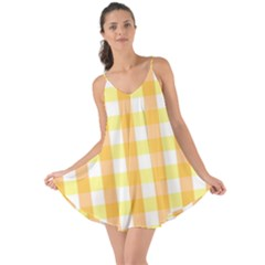 Gingham Duo Orange On Yellow Love The Sun Cover Up