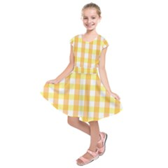 Gingham Duo Orange On Yellow Kids  Short Sleeve Dress by retrotoomoderndesigns