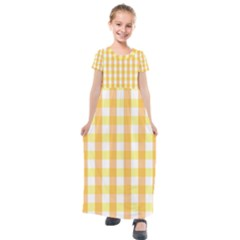 Gingham Duo Orange On Yellow Kids  Short Sleeve Maxi Dress