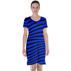 Black And Blue Linear Abstract Print Short Sleeve Nightdress by dflcprintsclothing