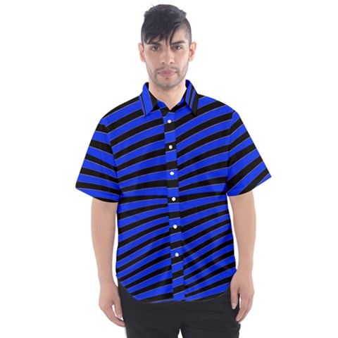 Black And Blue Linear Abstract Print Men s Short Sleeve Shirt by dflcprintsclothing