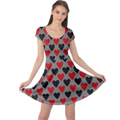 Red & Black Hearts   Grey Cap Sleeve Dress