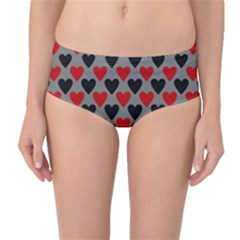 Red & Black Hearts   Grey Mid Waist Bikini Bottoms by WensdaiAmbrose