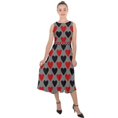 Red & Black Hearts   Grey Midi Tie Back Chiffon Dress