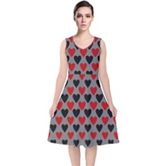 Red & Black Hearts   Grey V Neck Midi Sleeveless Dress