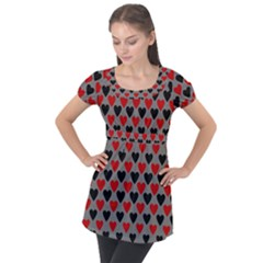 Red & Black Hearts   Grey Puff Sleeve Tunic Top