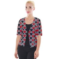 Red & Black Hearts   Grey Cropped Button Cardigan