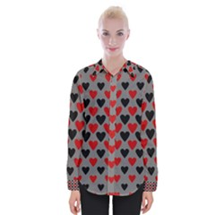 Red & Black Hearts   Grey Womens Long Sleeve Shirt