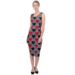Red & Black Hearts   Grey Sleeveless Pencil Dress