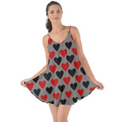 Red & Black Hearts   Grey Love The Sun Cover Up