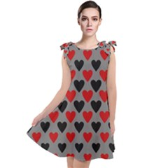 Red & Black Hearts   Grey Tie Up Tunic Dress