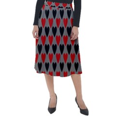 Red & Black Hearts   Grey Classic Velour Midi Skirt