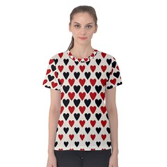 Red & Black Hearts   Eggshell Women s Cotton Tee