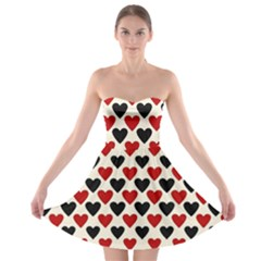 Red & Black Hearts   Eggshell Strapless Bra Top Dress