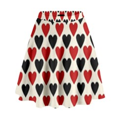 Red & Black Hearts   Eggshell High Waist Skirt
