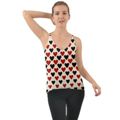 Red & Black Hearts   Eggshell Chiffon Cami