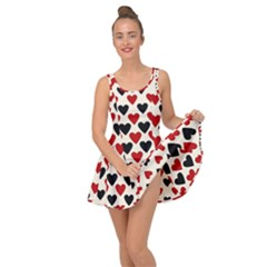 Red & Black Hearts   Eggshell Inside Out Casual Dress