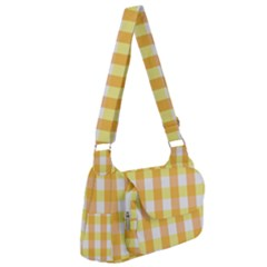 Gingham Duo Orange On Yellow Post Office Delivery Bag by retrotoomoderndesigns