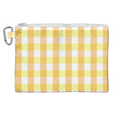 Gingham Duo Orange On Yellow Canvas Cosmetic Bag (xl)