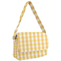 Gingham Duo Orange On Yellow Courier Bag by retrotoomoderndesigns
