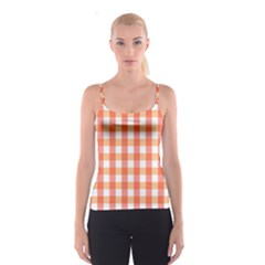 Gingham Duo Red On Orange Spaghetti Strap Top