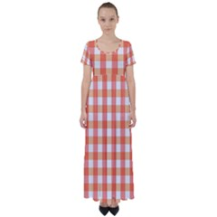 Gingham Duo Red On Orange High Waist Short Sleeve Maxi Dress