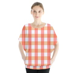 Gingham Duo Red On Orange Batwing Chiffon Blouse
