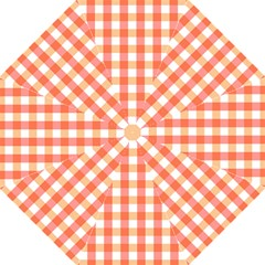 Gingham Duo Red On Orange Straight Umbrellas