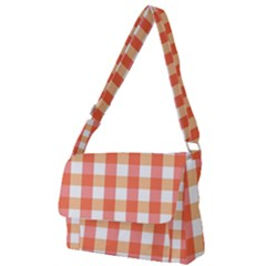 Gingham Duo Red On Orange Full Print Messenger Bag