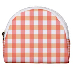 Gingham Duo Red On Orange Horseshoe Style Canvas Pouch